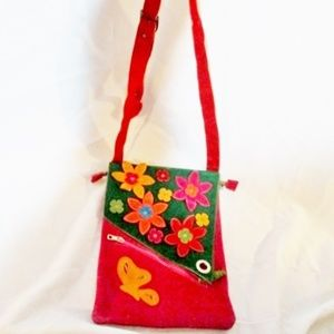 FLOWER BUTTERFLY Patchwork Hippy Boho flap bag